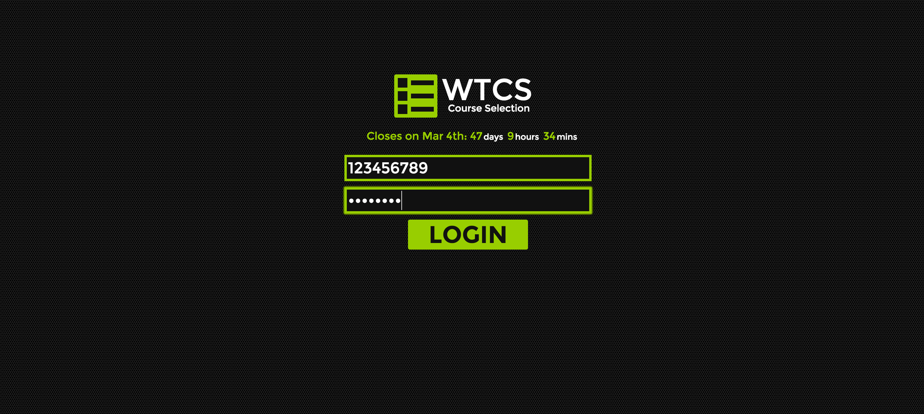 the login page